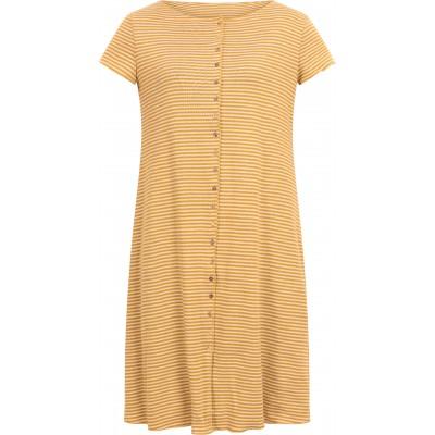 Button dress organic cotton stripes,  curry-undyed