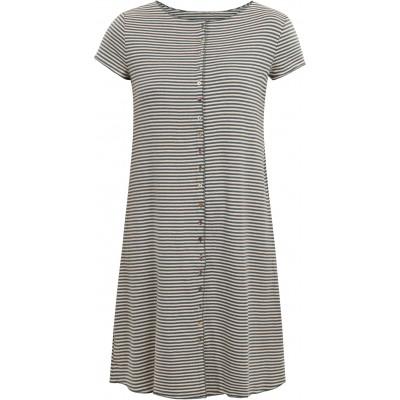 Button dress organic cotton stripes,  petrol-undyed