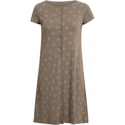Button dress organic cotton print,  sand-grey