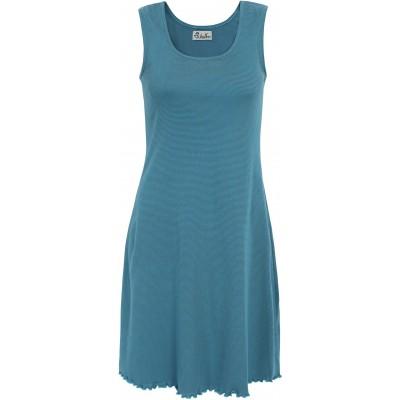 Basic dress organic cotton stripes,  bluegreen-turquoise