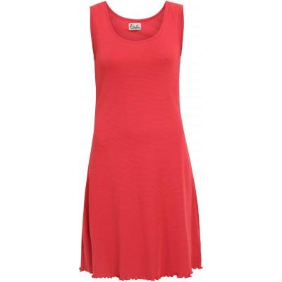 Basic dress organic cotton stripes,  pink-orange