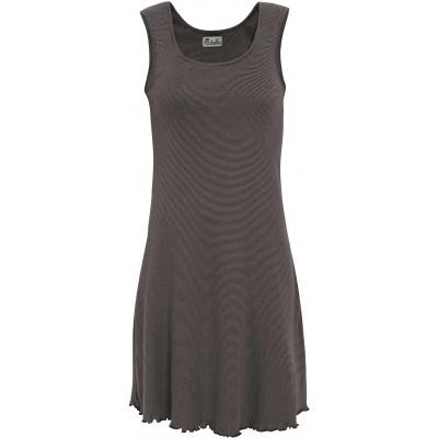 Basic dress organic cotton stripes, grey-anthracite