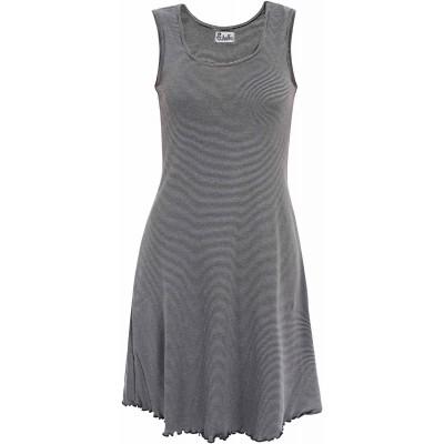 Basic dress organic cotton stripes, black-white