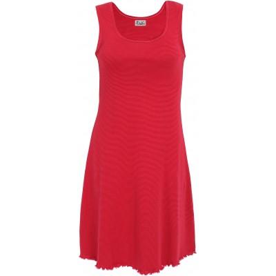 Basic dress organic cotton stripes, cerise-red