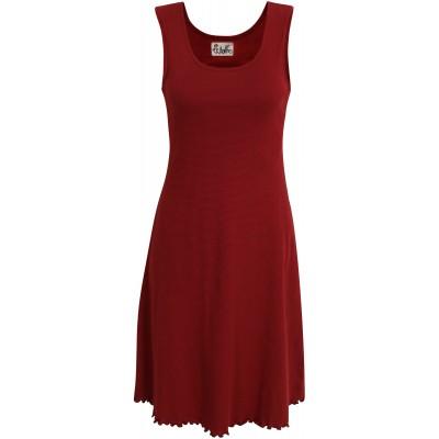 Basic dress organic cotton stripes, red-bordeaux