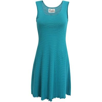 Basic dress organic cotton stripes, petrol-turq.