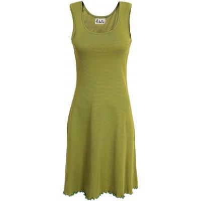 Basic dress organic cotton stripes, lime-green