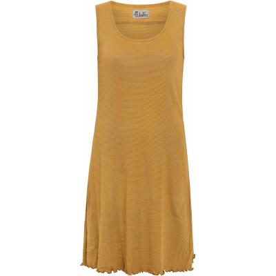 Basic dress organic cotton stripes, curry-light brown