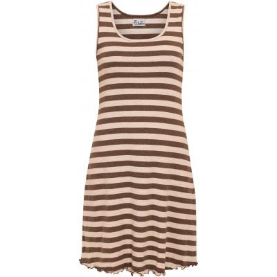 Basic dress organic cotton stripes, brown-undyed
