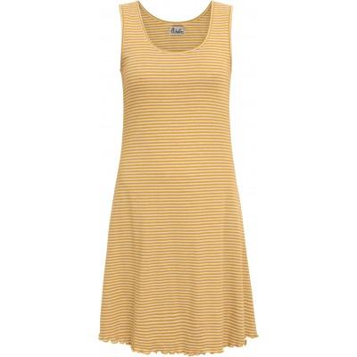 Basic dress organic cotton stripes, curry-undyed