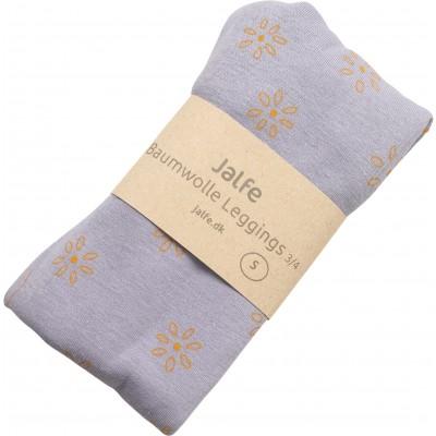 Leggings 3/4 l. organic cotton print,  lavender-yellow