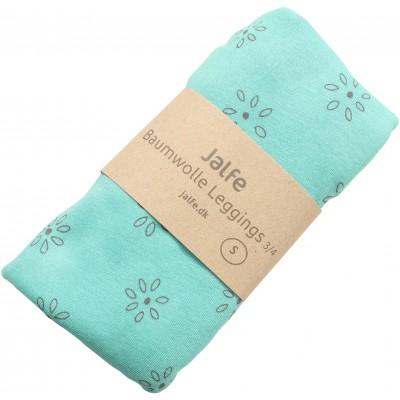 Leggings 3/4 organic cotton print,  mint-grey