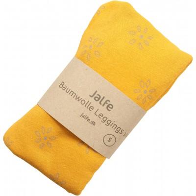 Leggings 3/4 organic cotton print,  yellow-lavender