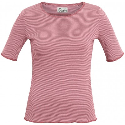 Shirt s/s organic cotton stripes,  rose-red