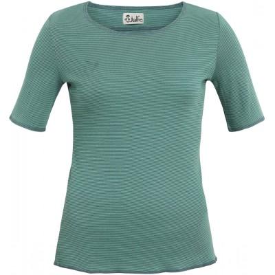 Shirt s/s organic cotton stripes,  bluegreen-turq.
