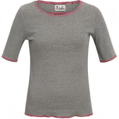 Shirt s/s organic cotton stripes,  black-white/pink