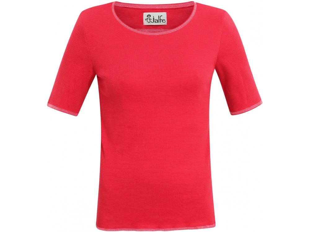 Shirt s/s organic cotton stripes,  cerise-red