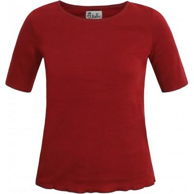 Shirt s/s organic cotton stripes,  red-bordeaux