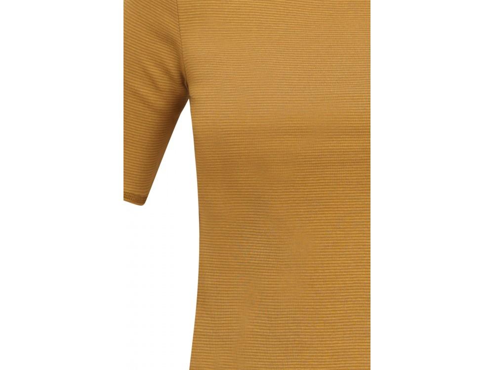 Shirt s/s organic cotton stripes,  curry-light brown
