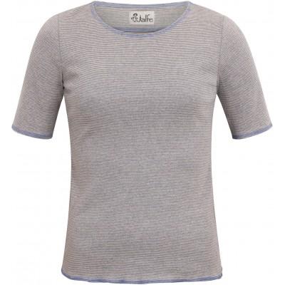 Shirt s/s organic cotton stripes,  lavender-undyed