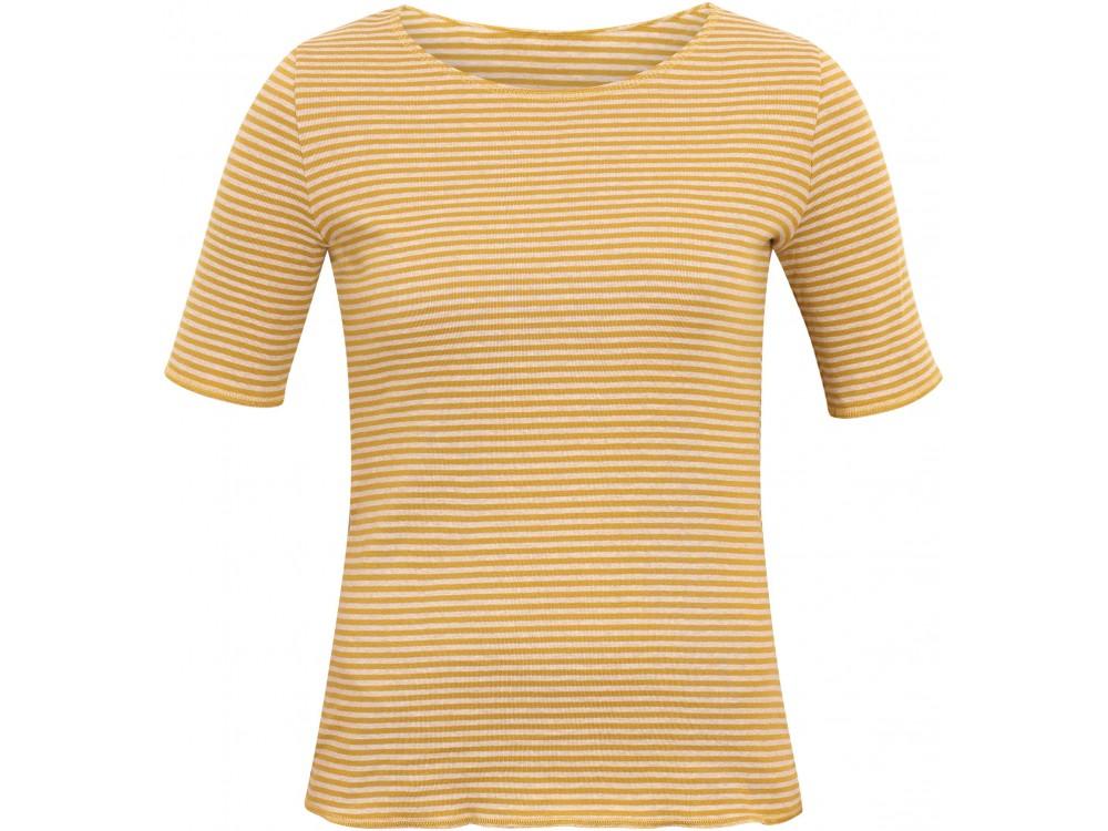 Shirt s/s organic cotton stripes,  curry-undyed