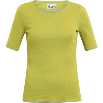 Shirt s/s organic cotton eyelet,  limegreen-zinc