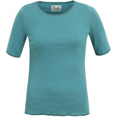 Shirt s/s organic cotton eyelet,  turquoise/dark green