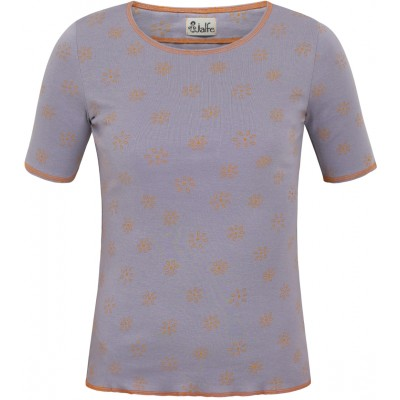 Shirt s/s organic cotton print,  lavender-yellow