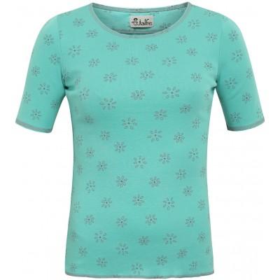 Shirt s/s organic cotton print,  mint-grey