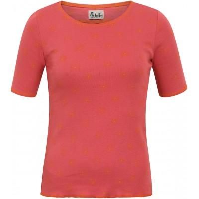 Shirt s/s organic cotton print,  red-orange