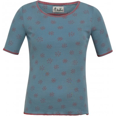 Shirt s/s organic cotton print,  blue-red