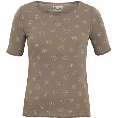 Shirt s/s organic cotton print,  brown-grey