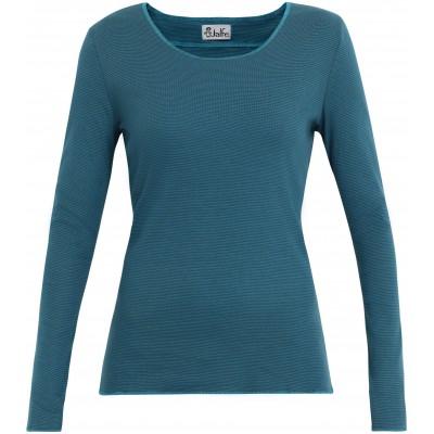 Shirt organic cotton stripes,  bluegreen-turquoise