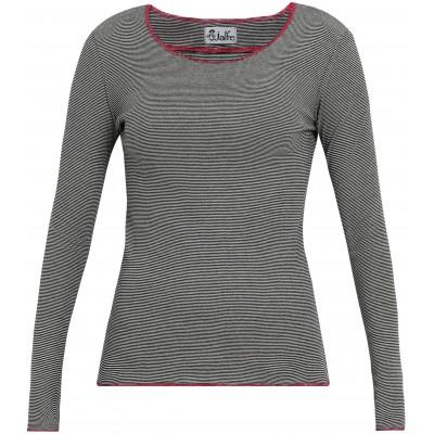 Shirt organic cotton stripes,  black-white/pink