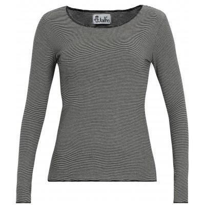 Shirt organic cotton stripes,  black-white/black