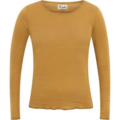 Shirt organic cotton stripes,  curry-light brown