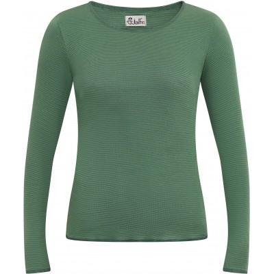 Shirt organic cotton stripes,  green-petrol