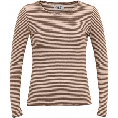 Shirt organic cotton stripes,  brown-undyed