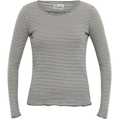 Shirt organic cotton stripes,  petrol-undyed