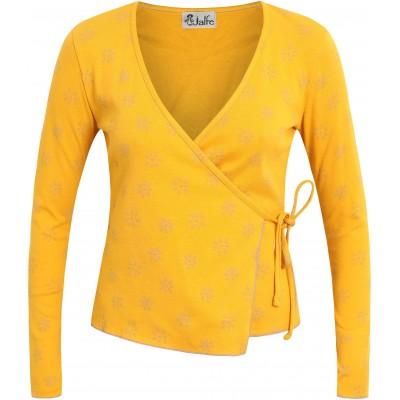 Shirt wrap organic cotton print,  yellow-lavender