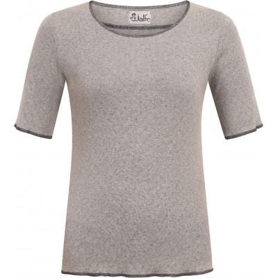 Shirt s/s organic cotton eyelet, grey/black