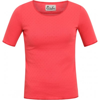 Shirt s/s organic cotton eyelet, coral/red