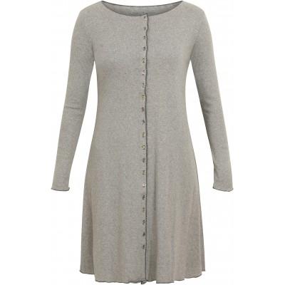 Button dress organic cotton eyelet, grey/black