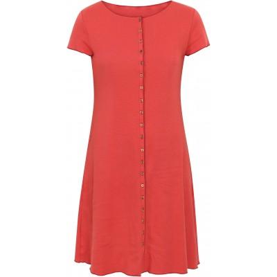 Button dress organic cotton stripes,  coral-rose
