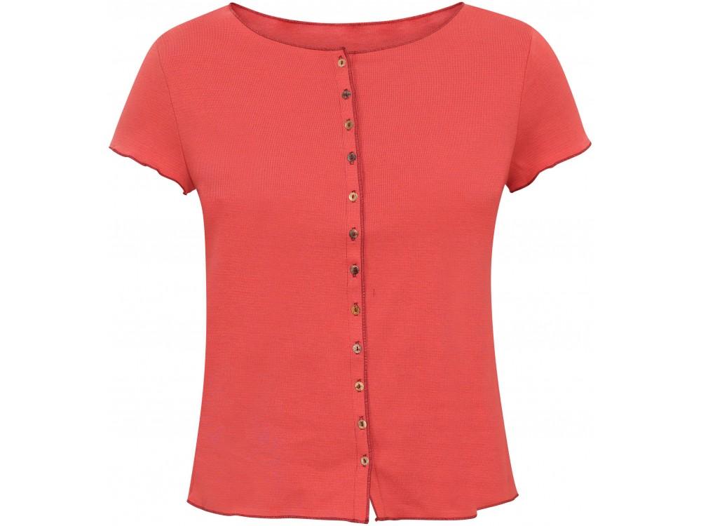 Button shirt s/s organic cotton stripes,  coral-rose