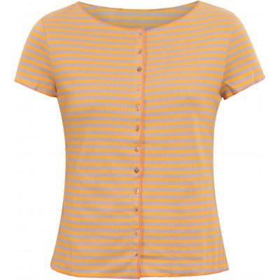 Button shirt s/s organic cotton stripes,  yellow-purple