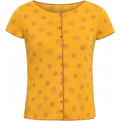 Button shirt s/s organic cotton print,  yellow-red XL