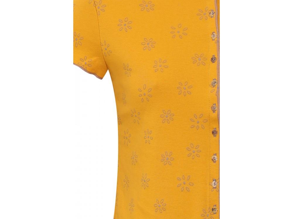 Button shirt s/s organic cotton print,  yellow-lavender