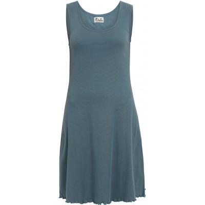 Basic dress organic cotton stripes,  bluegreen-blue