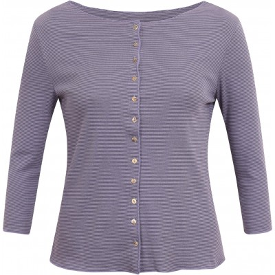 Cardigan 3/4 sl. organic cotton stripes, lavender-blue